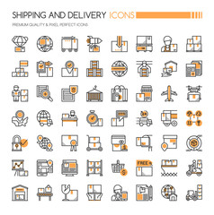 Shipping and Delivery Icons , Thin Line and Pixel Perfect Icons