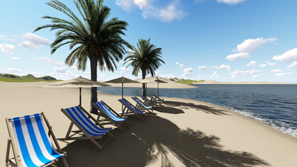 chairs under an umbrella at the beach by sunny day and  palm trees - 3D render.