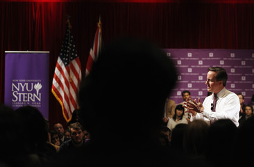 British Prime Minister David Cameron speaks during a question and answer session at New York University's Leonard N. Stern School of Business on the NYU campus in New York