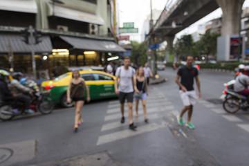 crossing tourist scene