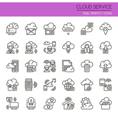 Cloud Service , Thin Line and Pixel Perfect Icons.