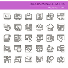 Programming Elements , Thin Line and Pixel Perfect Icons.