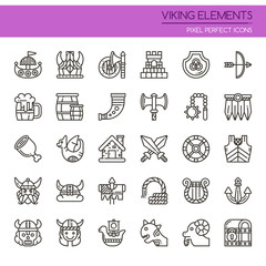 Viking Elements , Thin Line and Pixel Perfect Icons.
