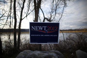 A sign for Republican presidential candidate and former house speaker Newt Gingrich is seen in Concord
