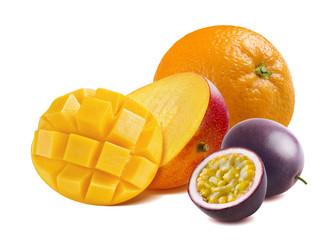 Half cut mango, orange and passion fruit isolated