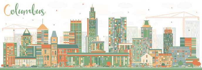 Abstract Columbus Skyline with Color Buildings.