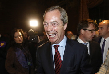 UK Independence Party (UKIP) leader Nigel Farage arrives at the count for the Newark by-election at Kelham Hall near Newark central England