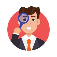 Tax inspector icon flat style. Vector illustration.
