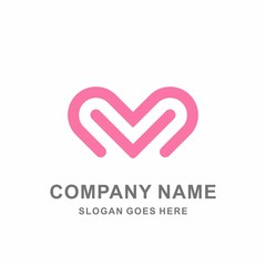 Heart Love Strips Luxury Beauty Jewelry Fashion Accessories Business Company Stock Vector Logo Design Template