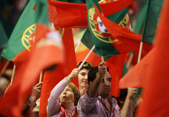 Portuguese wave flags during a Socialist Party Congress in Matosinhos