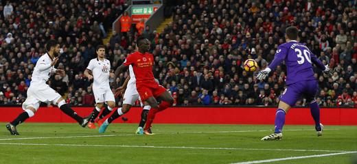 Liverpool's Sadio Mane scores their fifth goal