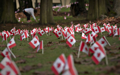 Canadian flags in honour of Remembrance Day cover the property of a seniors home in Burnaby
