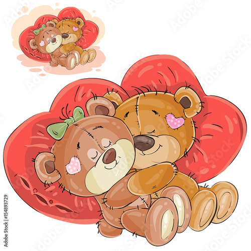 vector illustration of a couple of brown teddy bears lying embracing