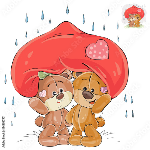 vector illustration of a couple of enamored brown teddy bears hid