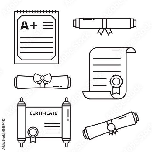 diploma scroll icon set in line art graduation certificate of