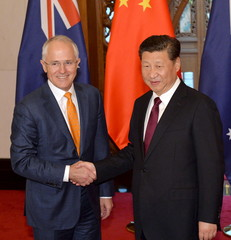 Australian Prime Minister Malcolm Turnbull  and Chinese President, Xi Jinping shake hands before the meeting at the Diaoyutai State Guesthouse in Beijing