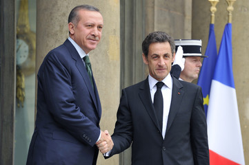 France's President Sarkozy shakes hands with Turkish Prime Minister Erdogan at the Elysee Palace, in Paris,