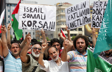 Demonstrators protest against Israel at Taksim square in Istanbul