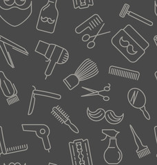 Seamless pattern with tools for barber shop, thin line icons. Shaving accessories collection. Decorative wallpaper, good for printing. Vector illustratiion for background.
