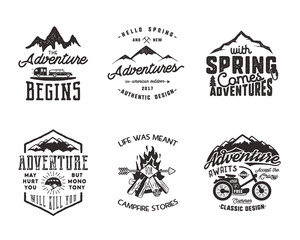 Hiking adventure and outdoor explorer typography labels set. Outdoors activity inspirational quotes. Silhouette hipster logos. Best for t shirts, mugs. patches isolated on white background