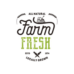 Farmers Market typography badge. Fresh and Local product logo template. Typographic eco farm insignia in black and green style. Isolated on white background. Vector patch