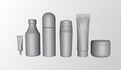 Set of white bottles for body care package, isolated on white background