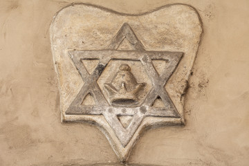 Star of David -relief on facade of Old New Synagogue, Josefov,Jewish quarter of Prague, Czech Republic