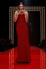 Singer Rachel Platten takes part in the American Heart Association's Go Red For Women Red Dress Fall/Winter show during New York Fashion Week in the Manhattan borough of New York