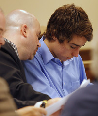 T.J. Lane listens to his new attorney Ian Friedman during a hearing into his competency to face trial in Chardon