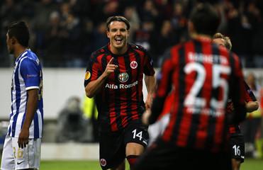 Eintracht Frankfurt's Meier celebrates his goal against Porto during their Europa League soccer match in Frankfurt