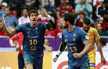 Guilherme de Toledo of Brazil reacts during their preliminary round of the 24th men's handball World Championship match against Spain in Doha
