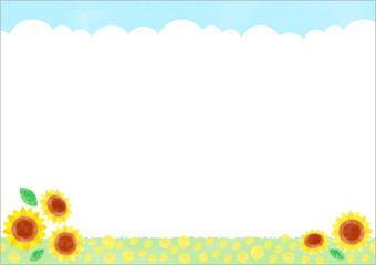 ひまわりと空の背景素材(水彩風)