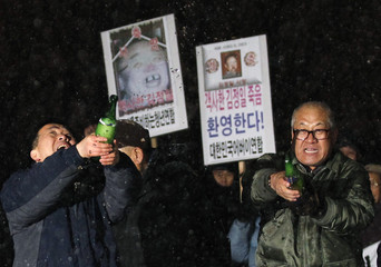 Anti-North Korea protesters pop champagne as they celebrate the death of North Korea's leader Kim Jong-il during a rally in Seoul