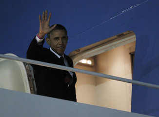 U.S. President Obama walks to Air Force One at JFK Airport