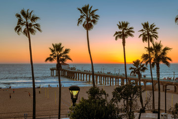 Sunset at Manhattan Beach and Pier in California, Los Angeles.
