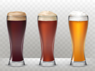 Vector illustration of a realistic style three tall glasses with a different beer isolated on a transparent background