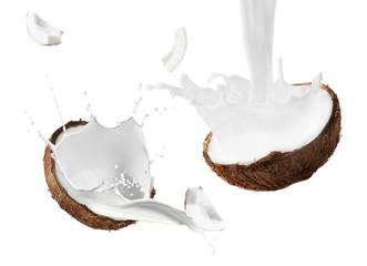 Coconut half on white background