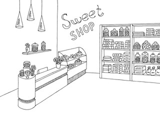 Sweet shop graphic black white interior sketch illustration vector