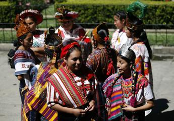 Mayan women gather before an event celebrating International Women's Day in Guatemala City