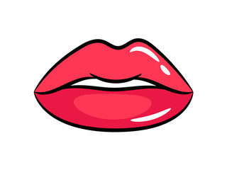 Female red lips sticker