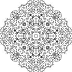 Floral lace style round decorative element