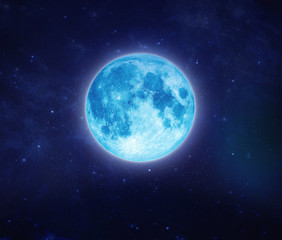 Beautiful blue moon on sky and star at night. Outdoors at night. Full lunar shine moonlight at nighttime with copy space background for headline text and graphic design.