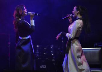 Astafieva and Kavtaradze, of the group NikitA, perform during Playboy magazine's Playmate of the Year celebration at the Palms Casino Resort in Las Vegas