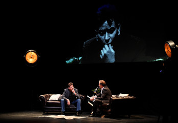 U.S. actor Charlie Sheen speaks during 'An Evening with Charlie Sheen' in London