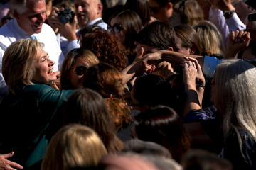 Clinton greets grassroots supporters after a rally in Alexandria, Virginia