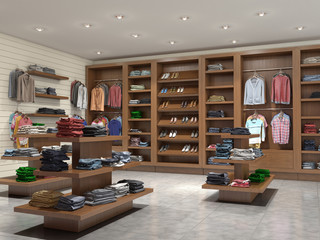 store with clothes, 3d illustration