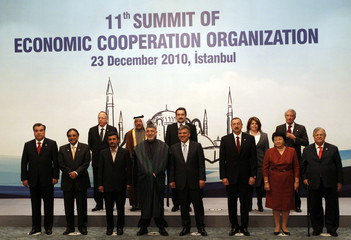 Leaders pose for the family photo of the 11th Economic Cooperation Organization Summit in Istanbul