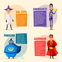 Set of evil superhero. Cartoon vector illustratration.