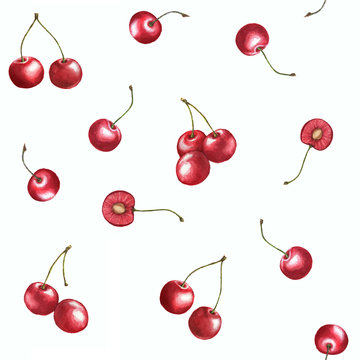 Seamless pattern watercolor cherries on the white background