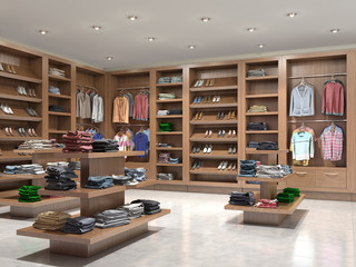 shop with wooden shelves, 3d illustration